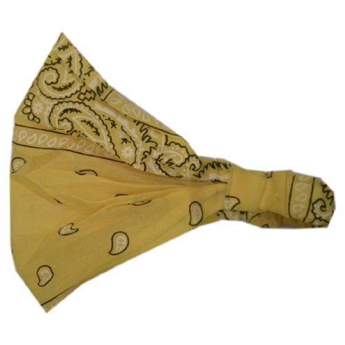 Yellow Paisley Cotton Bandana Headband with Elastic (Keshet Accessories) (Yellow Elastic Headband)