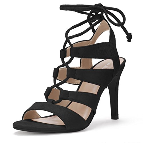 Lace Up Slingbacks (Allegra K Women's Open Toe Cutout Stiletto Heel Lace Up Sandals (Size US 7) Black)