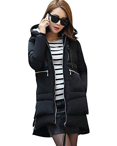 Mujer Invierno Más Gruesa Abrigo Parka Con Capucha Chaqueta De Acolchado Anorak Jacket Negro