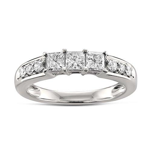 14k White Gold Princess cut & Round Diamond Bridal Wedding Band Ring (5/8 cttw, H I, I1 I2)