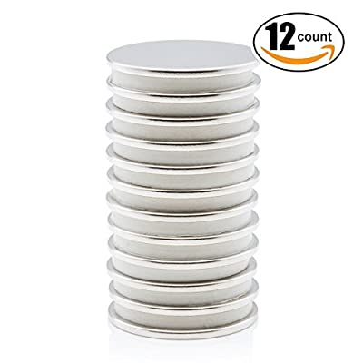 "Super Magnet N52 Neodymium Rare Earth NdFeB Permanent Disc Magnets, 1.26""D X 0.08''H, Set Of 12"
