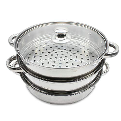 - KAIDEE Stainless Steel 3 Tier Steamer Induction Steam Steaming Pot Cookware 28cm + Lid Premium Cooker