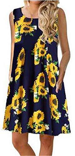 Summer Beach Dresses for Women Tshirt Sundresses Boho Casual Sleeveless Floral Shift Pockets Swing Loose Damask Sun Flower Navy Blue Medium