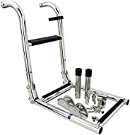 3 Step Foldable Boat Ladder,Stainless Steel Marine Foldable Pontoon Boat Ladder with Rubber Grips Folding Boar