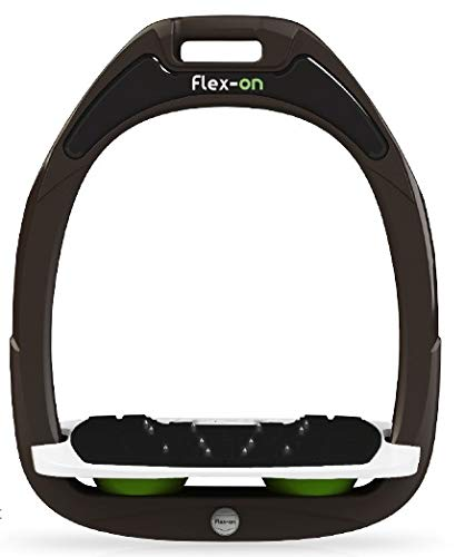 【 限定】フレクソン(Flex-On) 鐙 ガンマセーフオン GAMME SAFE-ON Mixed ultra-grip フレームカラー: ブラウン フットベッドカラー: ホワイト エラストマー: グリーン 07255   B07KMPZZYJ