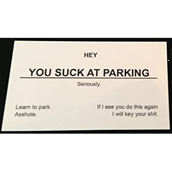 Amazon you suck at parking business cards 10 pack double you suck at parking business cards 10 pack double sided message colourmoves