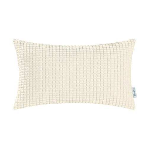 CaliTime Cozy Bolster Pillow Cover Case for Couch Sofa Bed Comfortable Supersoft Corduroy Corn Striped Both Sides 12 X 20 Inches Cream ()