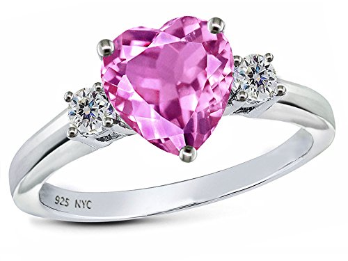 Created Pink Sapphire Ring - Star K 8mm Heart Shape Created Pink Sapphire Ring Sterling Silver Size 6