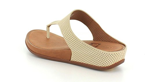 Fitflop Banda de la mujeres Perf nobuck toe-thong sandalias Urban White