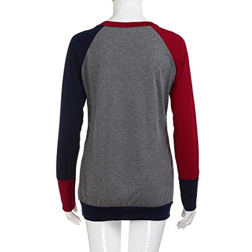 de du LILICAT chic sweat La longues S collge red cou Vtements manches couture col couleur femmes dcontract poche la des 3XL shirt bloc ras mode wZXndzq