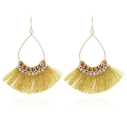 Crystal Chains Tassel Earring - Small Tear Drop Dangle with Chain & Crystal Trimmings, Fan Shape Tassel Statement Earrings