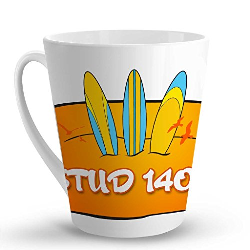 (Makoroni - STUD 140.6 Surf Surfing LATTE MUG - 12 Oz. Unique Latte Mug, Coffee Cup)
