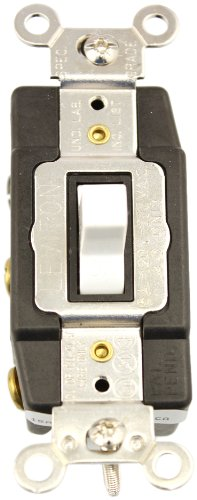Leviton 1282-W 15-Amp, 120/277-Volt, Toggle Double Throw, Center Off, Maintained Contact, Double-Pole AC Quiet Switch, White