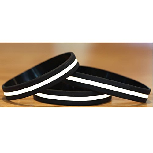 100 Child Size Thin White Line Silicone Wristbands in Support Memory Emergency Medical Services