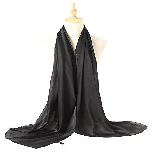 Bellonesc Silk Scarf 100% silk Long Lightweight Sunscreen Shawls for Women (black)