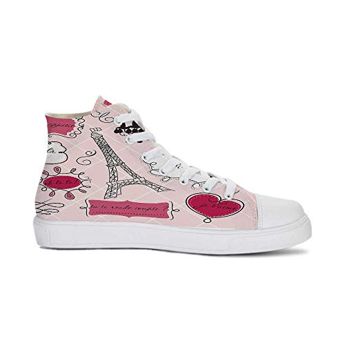 YOLIYANA Teen Room Decor Durable High Top Canvas Shoes,Doodle Frames French Style Rococo Baroque Lantern Mademoiselle Print Decorative for Men,US 13