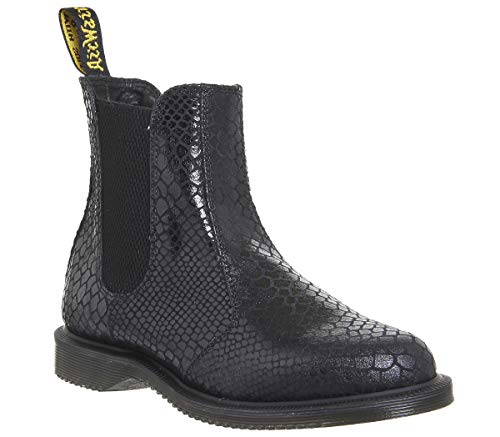 Dr Martens Women's Flora Leather Pull On Boots Black Snake