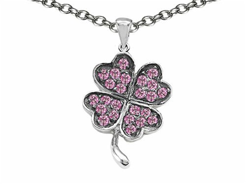 Celtic Love by Kelly Lucky Clover Pendant Necklace with Created Pink Sapphire Sterling Silver