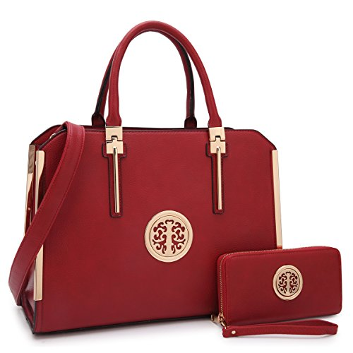 Women's Fashion Shoulder Bag Structured Top Handle Satchel Work Handbag Briefcase W/Wallet (03-burgundy wallet - Red Claiborne Handbag Liz