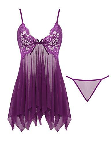 Joyaria Women's Sexy Lingerie Outfits 2 Piece Lace Babydoll Mesh Nighties (Purple, ()