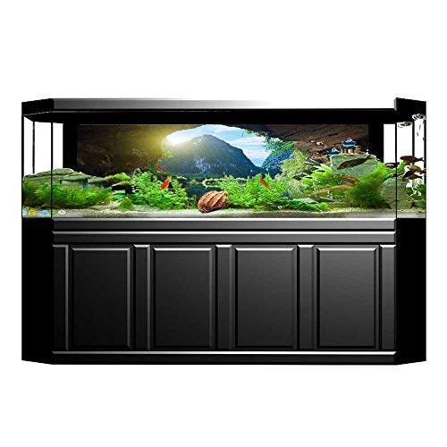 Jiahong Pan Background Fish Tank Sticker and Sky View from The Grotto Viatnemese Tam COC Park Myst PVC Paper Cling Decals Sticker L29.5 x H19.6