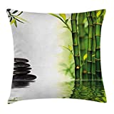 Lunarable Spa Throw Pillow Cushion Cover, Bamboos Reflecting to The Water Near The Hot Black Massage Stones Print, Decorative Square Accent Pillow Case, 40 X 40 Inches, Black Green and White