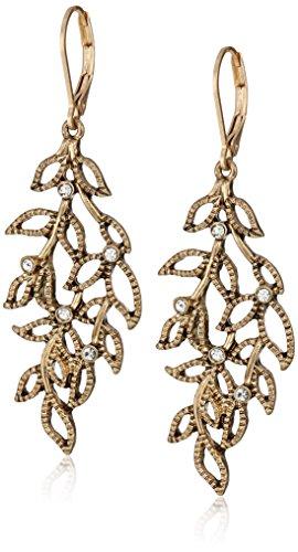 Lonna & Lilly Worn Gold- Crystal Leaf Chandelier Drop Earrings, ()