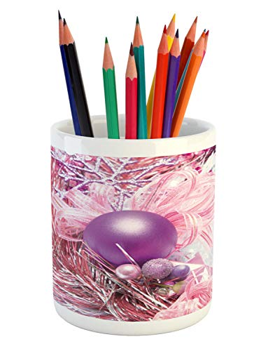 - Ambesonne Christmas Pencil Pen Holder, Close Up View of Bells and Ribbon Bow Objects Annual Present Eve Image Print, Printed Ceramic Pencil Pen Holder for Desk Office Accessory, Pink Purple