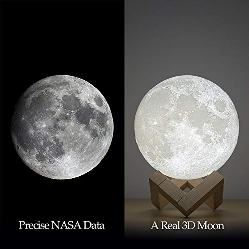 BRIGHTWORLD Moon Lamp Moon Night Light 3D Printed 3.5IN Lunar Lamp for Kids Gift for Women USB Rechargeable Touch Contral Brightness Warm and Cool White ML-3.9