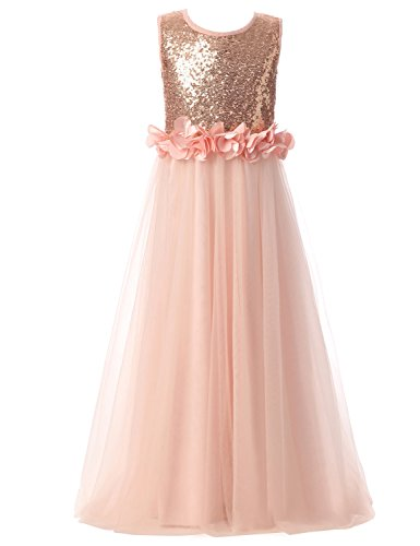 Sarahbridal Sequin Flower Girls Long Pageant Gowns Tulle Wedding Party Princess Dress Rose Gold US12