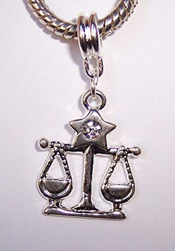 Libra Scales Zodiac Clear Rhinestone Dangle Bead fits European Charm Bracelets Crafting Key Chain Bracelet Necklace Jewelry Accessories Pendants