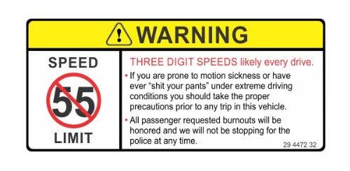 Warning three digit speeds every drive funny joke JDM vinyl decals bumper stickers (Truck Funny Stickers Bumper)