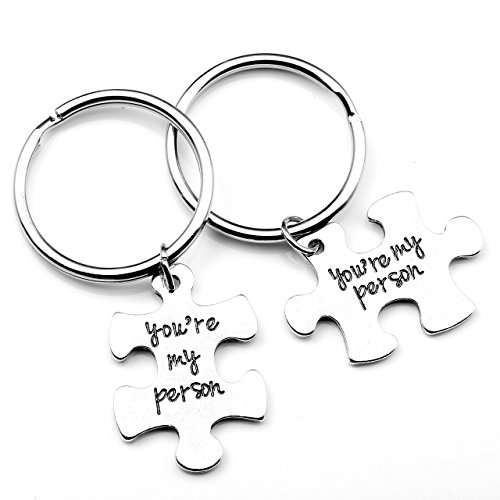 "Top Plaza 2pcs/Set Antique Silver Alloy ""You Are My Person"" Key Chain Key Ring - Christmas Gift"