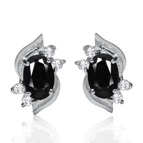 1.34ct. Petite Natural Black Sapphire & Topaz 925 Sterling Silver Stud Earrings ()