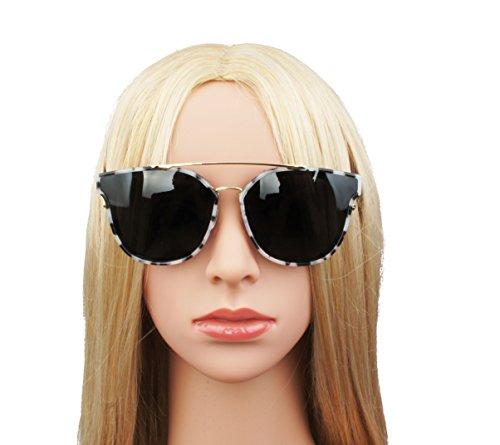Vivian & Vincent Premium Polarized Cat Eye Metal Frame Mirrored Sunglasses Cow Color Frame Black - Sunglasses Cow