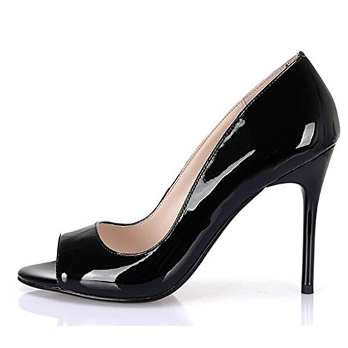 Black Poisson Ouvert Talons Hauts 10 Profondes Chaussures Simples Bouche Llp Cm Bout Sandales Peu Femmes Pour tqfcawOH