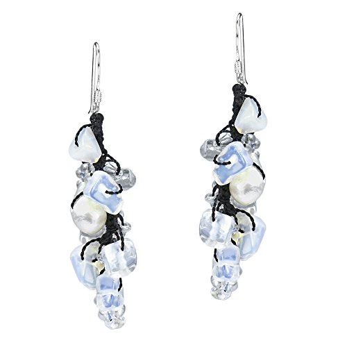 Sweet White Serenade Simulated Moonstone & Cultured Freshwater Pearl Sterling Silver Dangle ()