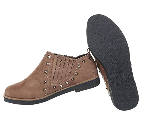 Damen Schuhe Halbschuhe Nieten Hellbraun
