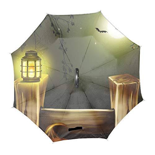 Scare Halloween Night Inverted Umbrella Windproof Reverse Double Layer Travel Umbrella with C Shape Handle