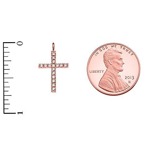 10K Or Rose-Oxyde de zirconium-Croix Pendentif Breloque Dainty