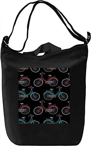 Bike Print Borsa Giornaliera Canvas Canvas Day Bag| 100% Premium Cotton Canvas| DTG Printing|