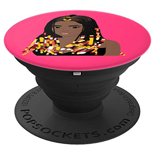 Natural Hair CORNROW BRAIDS and BEADS PINK 3 - PopSockets Grip and Stand for Phones and Tablets