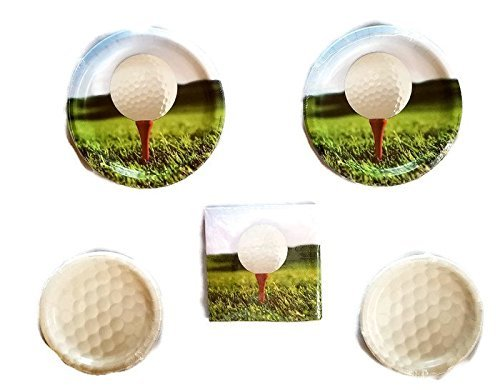 Sports Fanatic Golf Party Bundle 9'' Plates (16) 7'' Plates (16) Lunch Napkins (18) by NCAA Creative Converting