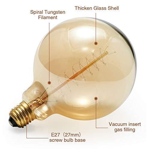Bombilla E27 Edison, LED vintage, estilo retro antiguo, 3 W, E27, espiral flexible, filamento LED, bombilla decorativa, regulable, blanco cálido, 2200 ...