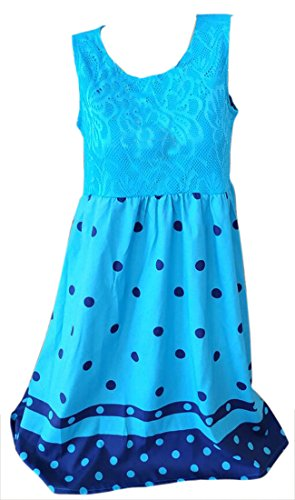 Sundresses Lace Loose Swing Out Hollow Summer Cromoncent Womens Printed Dots Blue Dresses 4T5aA6q