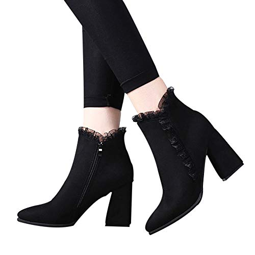 Fitfulvan Clearance,Women Solid Thick High Heel Lace Flock Short Boots Zipper Shoes(Black,5.5)