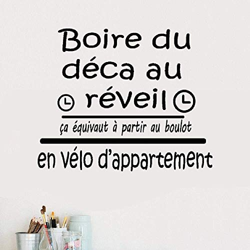 Wall Stickers Design Art Words Sayings Removable Lettering French Quote Boire De La Deca Pour Se Réveiller Pour La Chambre Drink from Deca to Wake Up for Bedroom