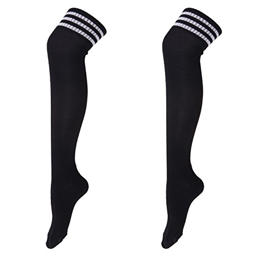 [HDE Women's 2 Pack Extra Long Soccer Rugby Football Athletic Sport Tube Socks (Black)] (Sport Referee Costume)