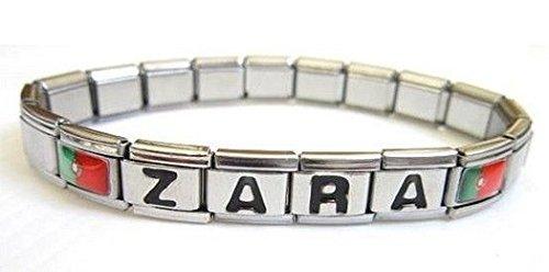 Bracelet Prénom Personnalisable Maillons Italien Avec Logo Drapeau Portugal.