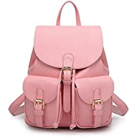 Jonon Women's Leather Backpack Soft & Fashion Leather Lovely Backpack Cute School bag for Girls